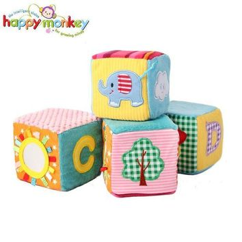 CREYLD1 4 PCS Baby Soft Play Activity Block Grasp Cube Set Crinkle Rattle Bell Sound Educational Toys for Children Kids Newborn Gift