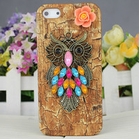 Diamond Brass Owl,Beautiful Flower And Hard Cover for Apple iPhone5 Case, iPhone 5 Cover,iPhone 5 Case, iPhone 5g
