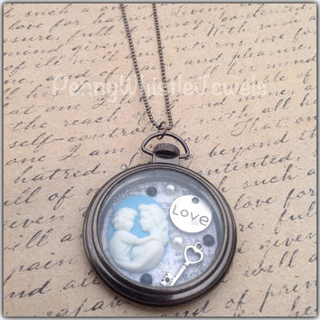 Pocket Watch Locket, Mother Child Pocket Watch, Pocket Watch Necklace, Mother Child Necklace, Mother's Day Gift