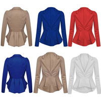 Women's Crop Frill Shift Fitted Peplum Cardigan Blazer Ladies Jacket Coat = 1904483588