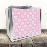 Pink Bubble Polka Dot Lunch Box - Pattern Illustrated Bubbles over Pink - Tin School Lunch Art Craft Supplies Box