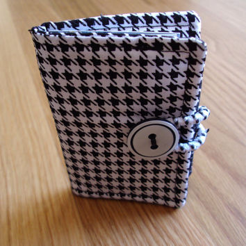 Fabric Wallet, Business Card Case Holder, Credit Card Holder, Mini Wallet, ID Holder, Purse Organizer, Houndstooth Fabric, Gift Card Case
