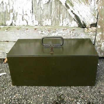 Vintage Strong Box, Industrial Lock Box with Key, Green Industrial Lock Box, Vintage Safe