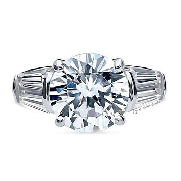 5.2CT Round Cut Russian Lab Diamond Baguette Engagement Ring