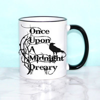 """Edgar Allan Poe Book Mug, The Raven, """"Once upon a midnight dreary"""",  Literary Quote, Book Mug, UK"""