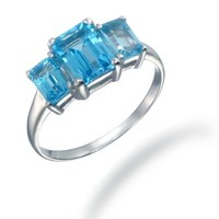 Sterling Silver 3 Stone Swiss Blue Topaz Ring (3 CT)