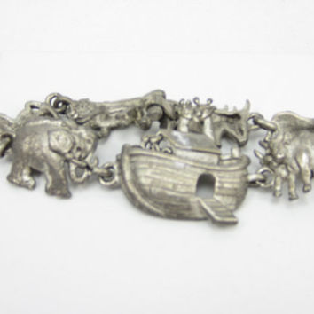 AJC Signed Pewter Noahs Arc Ark Bracelet 1980s Pewter Religious Animal Theme Christmas Gift Idea African Animal Safari Giraffe Elephant
