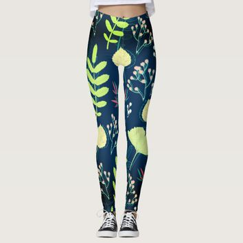 Cool Green leafy texture legging