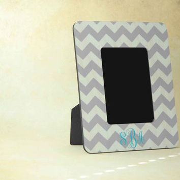 Personalized Picture Frame, Chevron with Aqua Monogram Wood Picture Frame, Monogrammed Gift for Wedding or Baby Shower for Boy