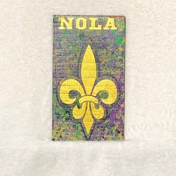 NOLA Fleur De Lis Wooden Sign Wall Hanging Home Decor Hand Painted Purple Green Gold ~ Great Gift for New Orleans Home ~ Mardi Gras Colors