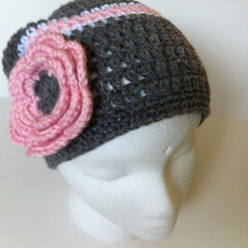 Crochet Grey & Pink Striped Beanie Hat Women's by ValuableCr8tions