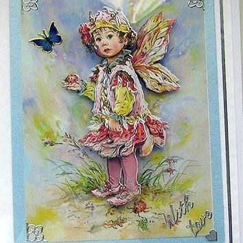Fairy, Hand Crafted 3D Decoupage Card, With Love (1751)