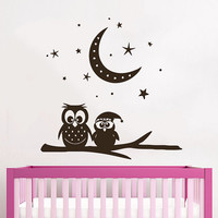 Wall Decals Owl Childrens Decor Kids Vinyl Sticker Moon Crescent Stars Owls Wall Decal Nursery Baby Room Bedroom Playroom Owl Decor SV6009