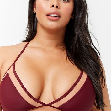 Plus Size Mesh-Trim Triangle Bikini Top