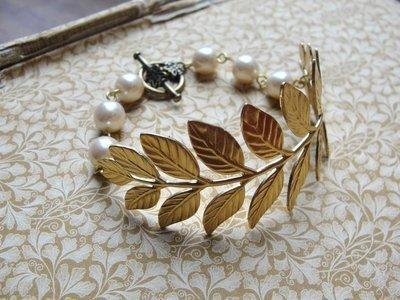 Beautiful Leaf and Vintage Pearl Bracelet - Vintage Inspired Jewellery by Zara Taylor