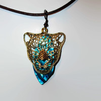 Gold Jaguar Pendant with Leather Chord Necklace Blue Eyes Lovely Handmade Gift 18 Inches Boho Chic
