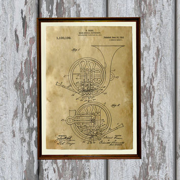 Gift for musician French horn poster Vintage art Patent print Modern decor AKP49