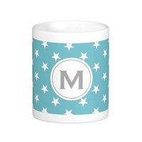 Monogrammed Curacao Blue White Stars. Discount +25 Classic White Coffee Mug