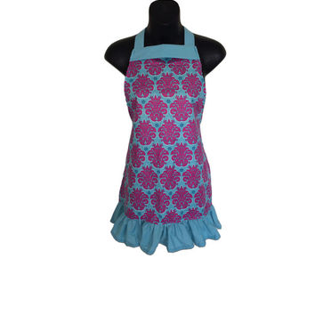 Turquoise and Pink Kids Apron // Solaria Medallion // Size 4-6-8-Young Adult