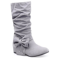 Gray Bow-knot Design Ruched Boots With Rhinestones