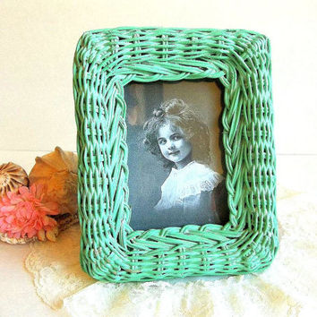 Vintage Wicker Picture Frame, Aqua green wicker photo frame, Cottage Shabby Chic, Beach Decor,  3.5 by 5 inches frame
