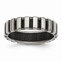 Men's Titanium & Black IP-plated Wire Polished Wedding Band Ring: RingSize: 8.5