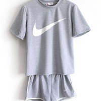 NIKE Women Casual Print Short Sleeve Sport Gym Sweatpants Set Two-Piece Sportswear
