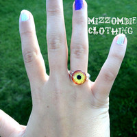YELLOW orange   DRAGON eye glass  Ring  adjustable ring, silver plated Limited
