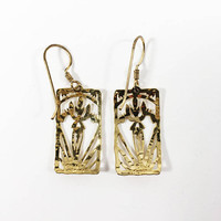 Wild Bryde Rectangle Shaped Openwork Earrings, Modern Dangle and Drop Floral Vintage Jewelry Pre 1997 Era