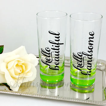 Hello Beautiful Hello Handsome Glass Set - Wedding Gift - Gift under 30 - Tumblers - Mugs - Cups - Hello Handsome Gift - Hello Beautiful Mug
