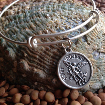 Saint Michael Archangel Charm on a Silver Expandable Adjustable Bangle Bracelet Patron Saint of Protection Inspirational Jewelry
