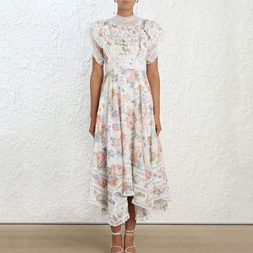 Summer Elegant Floral Printed Ruffles Lace Chiffon Patchwork Pleated Long Maxi Dress