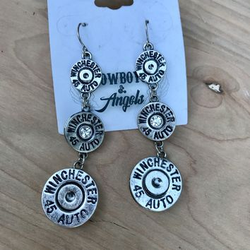Winchester Bullet Earrings- SILVER