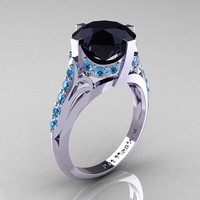French Vintage 14K White Gold 3.0 CT Black Diamond Blue Topaz Bridal Solitaire Ring R306-14KWGBTBD