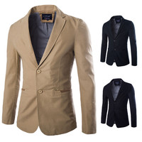 Solid Two Button Suit Jacket
