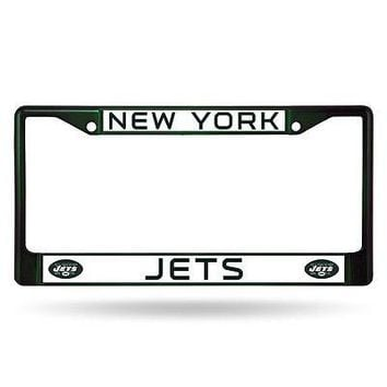 New York Jets NFL Licensed Green Painted Chrome Metal License Plate Frame