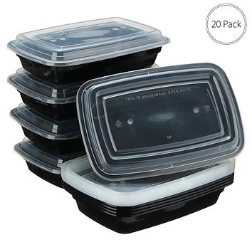 750ml 20PcS/lot Plastic Disposable Bento Lunchox Meal Prep Picnic Food Storage Container Tableware with Lid Microwavable