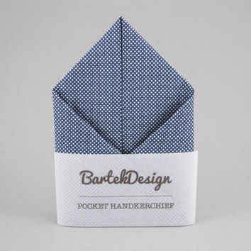 Blue Pocket Square Dotted Pocket Square Blue Handkerchief Pocket Square for Men Gift for Men Gift for Husband Groomsmen Gift BartekDesign