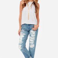 Blank NYC The Galaxy Distressed Straight Leg Jeans
