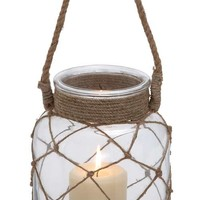 A.M.B. Furniture & Design :: Accessories :: Misc. Accessories :: Jute Rope Netted Glass Jar Candle Lantern with a Sturdy Rope Handle