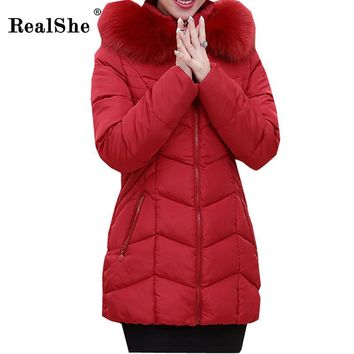 RealShe Winter Women Cotton Costume New Fashion Wool Collar Hoodies Women's Warm Casual Long Jacket Plus Size Slim Parkas Coat