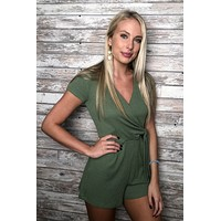 Fell For You Romper- Olive