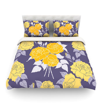 "Anneline Sophia ""Summer Rose Yellow"" Purple Lavender Featherweight Duvet Cover"