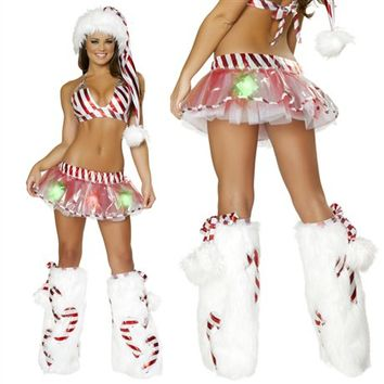 Candy Cane Present Bikini Skirt Outfit : Cute Christmas Costumes and Outfits Made in the USA!