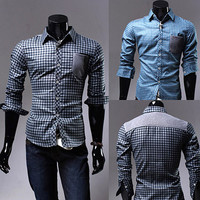 Plaid Check Design Slim Fit Men Fashion Dress Shirt