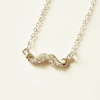 Silver Tone Small Mustache Necklace - Gift for Her - Gift under 15