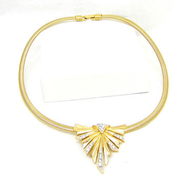Gold Tone Trifari Rhinestone Choker Omega Chain Necklace Modernist Vintage Jewelry Estate Designer Signed 17 inch Runway High End Costume Ar