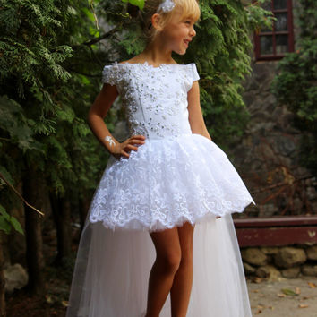 Lace White Flower Girl Dress - Wedding Party Birthday Peasant Bridesmaid White Tulle Lace Dress