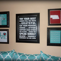 "Family Gallery Wall (family rules & tree, 1 Corinthians 13, birth dates and custom state print) - one 16""x20"" poster and four 8""x10"" prints"