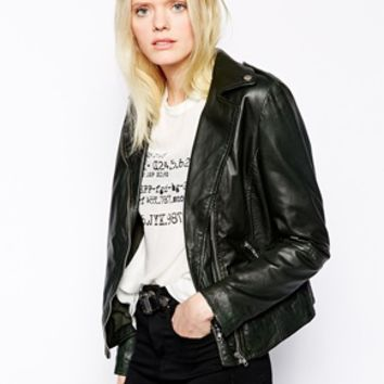 Muubaa Carmona Leather Biker Jacket - Bottle green